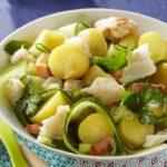 Salade de pommes de terre concombre et crabe