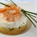 Cheesecake aux crevettes et Ratte du Touquet