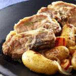 Côtes de veau aux Ratte du Touquet & aux échalotes confites