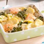 Gratin de pommes de terre, saumon & brocolis