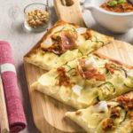 Pizza aux Ratte du Touquet, jambon de parme & pesto