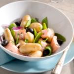 Salade de Ratte du Touquet, saumon mariné et pois gourmands