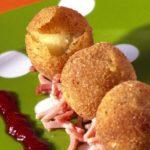Croquettes de Ratte du Touquet, jambon à l'os et pulpe « Tomato-ketchup »