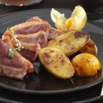 Pommes de terre sautées, magret et glace au potiron