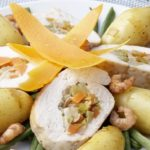 Chapon farci aux crevettes & Ratte du Touquet