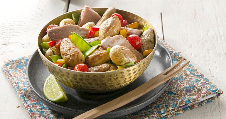 Wok de thon poele aux Ratte du Touquet
