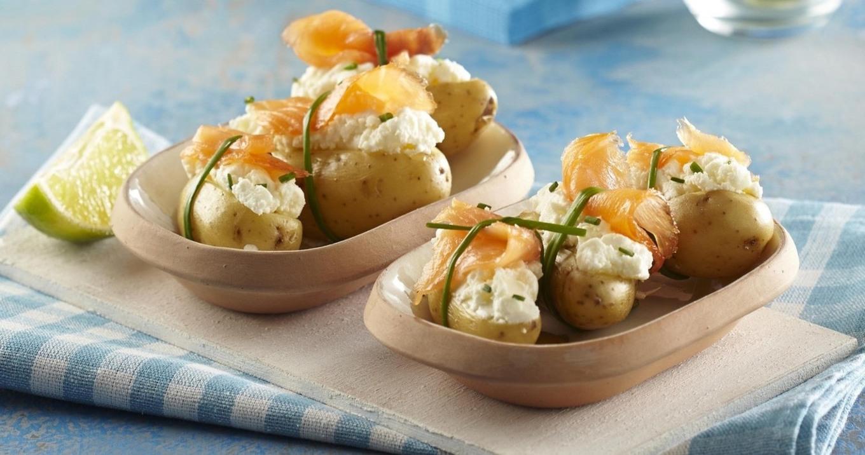 Bouchees de pommes de terre et saumon fume
