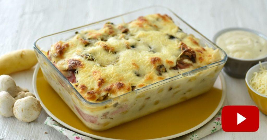 gratin jambon champignons